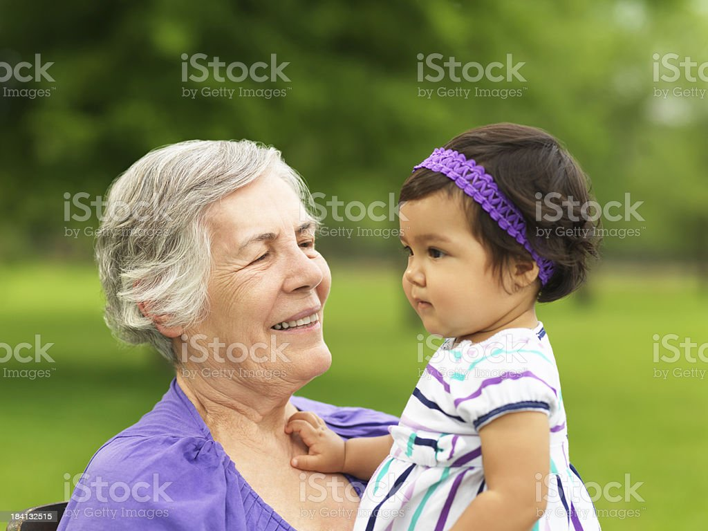 Happy senior and granddaughter royalty-free stock photo