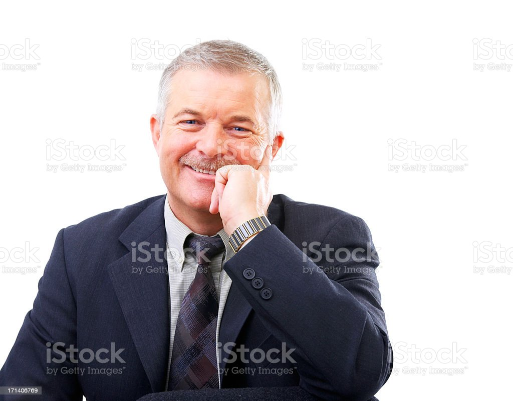 Happy senior business man stock photo