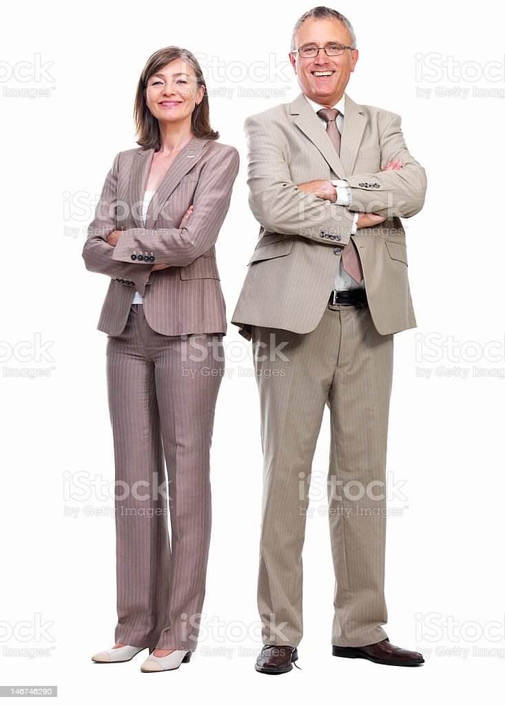 Happy senior businessman and businesswoman standing against white background royalty-free stock photo