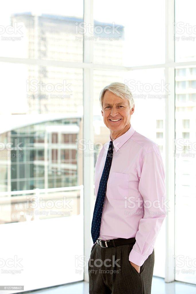 Happy senior CEO stock photo