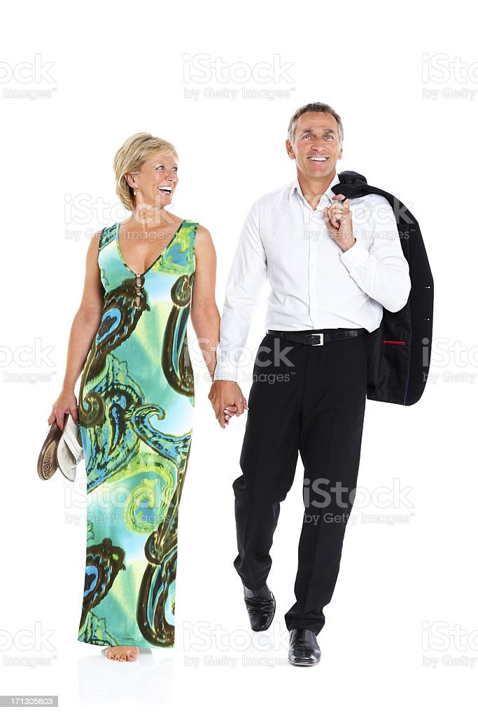 Happy senior couple after a party royalty-free stock photo