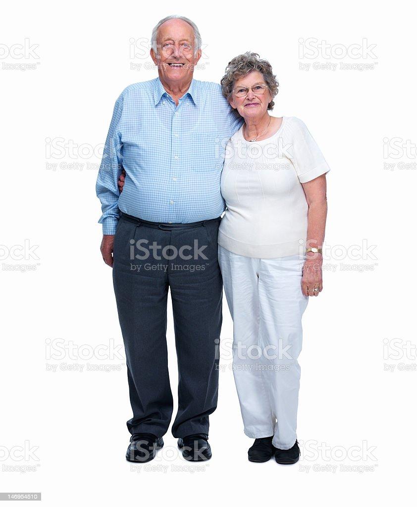 Happy senior couple against white background royalty-free stock photo