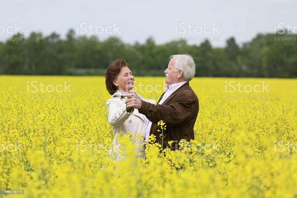 Happy Senior couple dancing in blooming canola field (XXXL) royalty-free stock photo