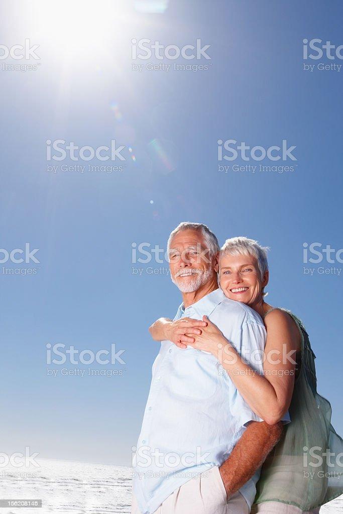 Happy senior couple enjoying outdoors royalty-free stock photo