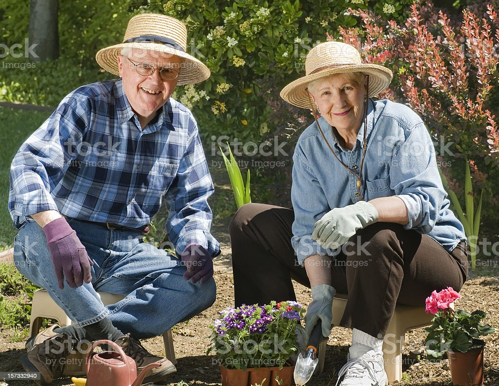 Happy Senior Couple Gardening Planting Flowers royalty-free stock photo