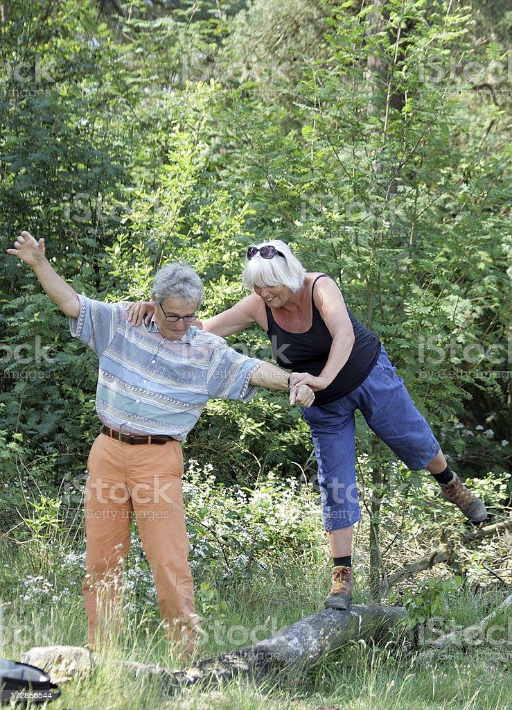 Happy Senior Couple having fun outdoors royalty-free stock photo