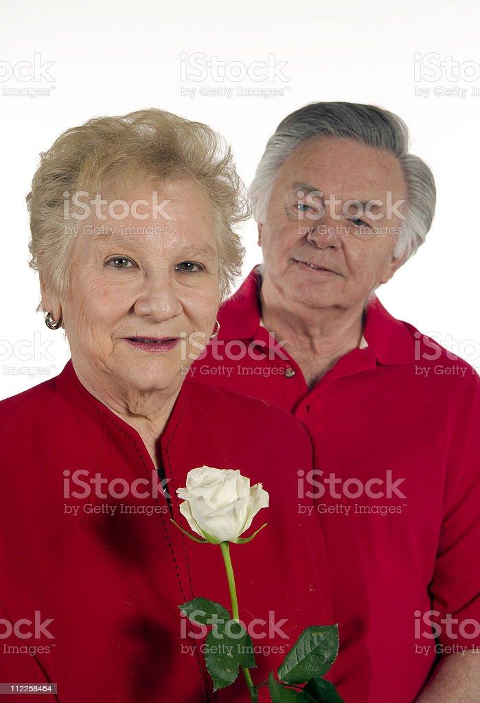 Happy senior couple in love on valentines day stock photo