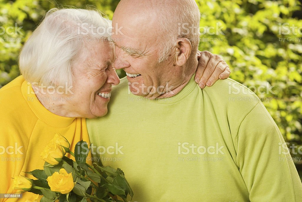 Happy senior couple in love outdoors royalty-free stock photo