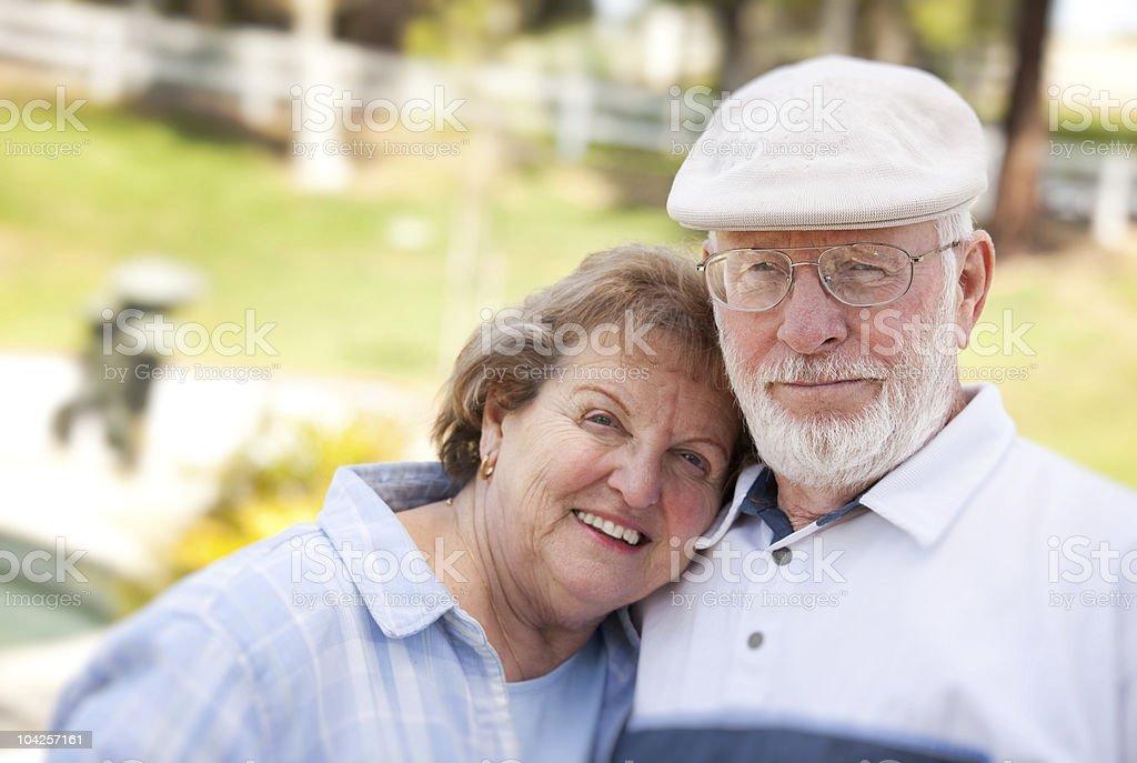 Happy Senior Couple in The Park royalty-free stock photo