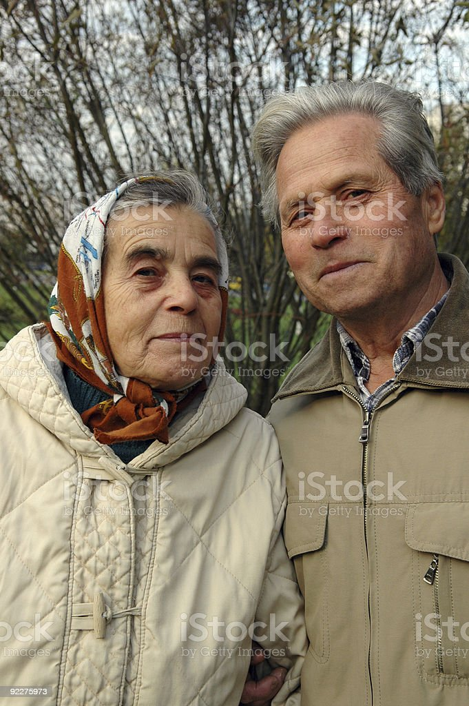 Happy senior couple in the park. royalty-free stock photo