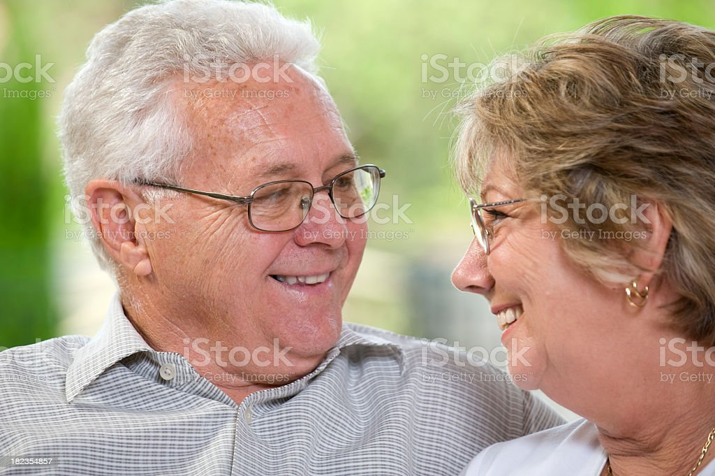 Happy senior couple looking at each other royalty-free stock photo