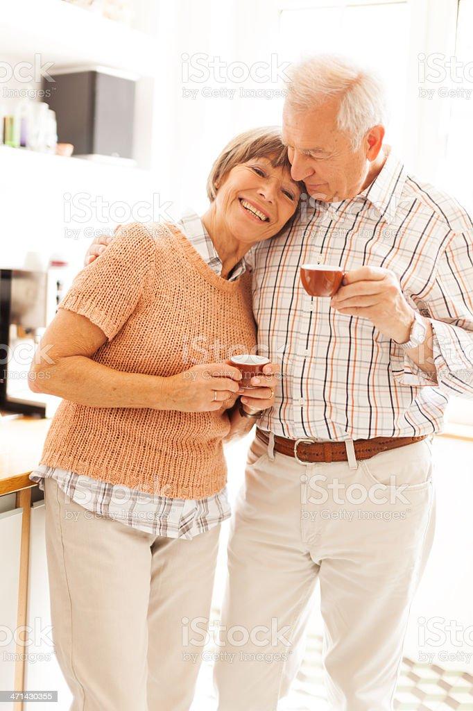 Happy senior couple morning royalty-free stock photo