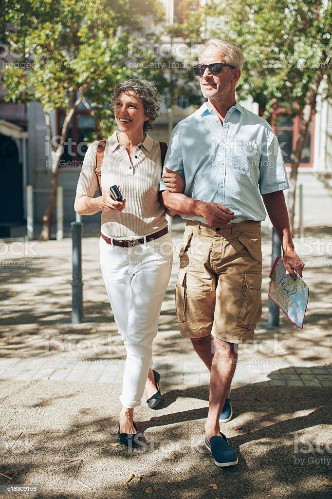 Happy senior couple on a vacation stock photo