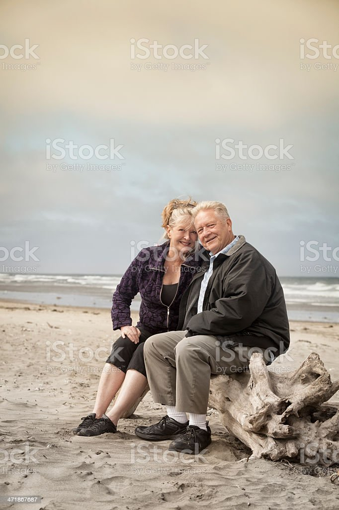 Happy Senior Couple on the Beach royalty-free stock photo