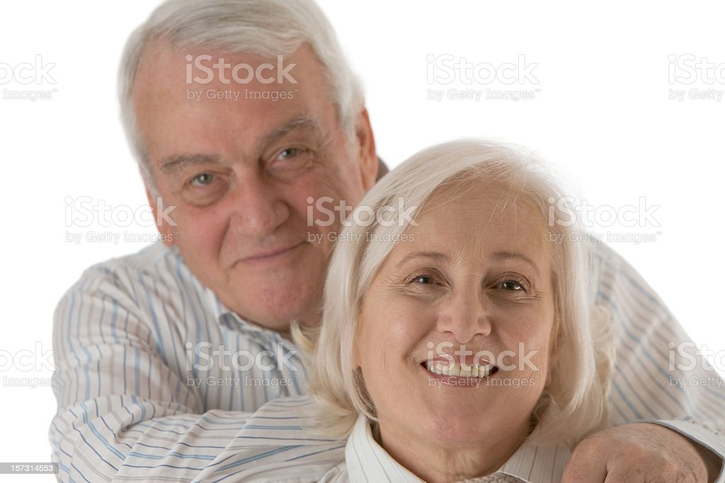 Happy senior couple on white background royalty-free stock photo