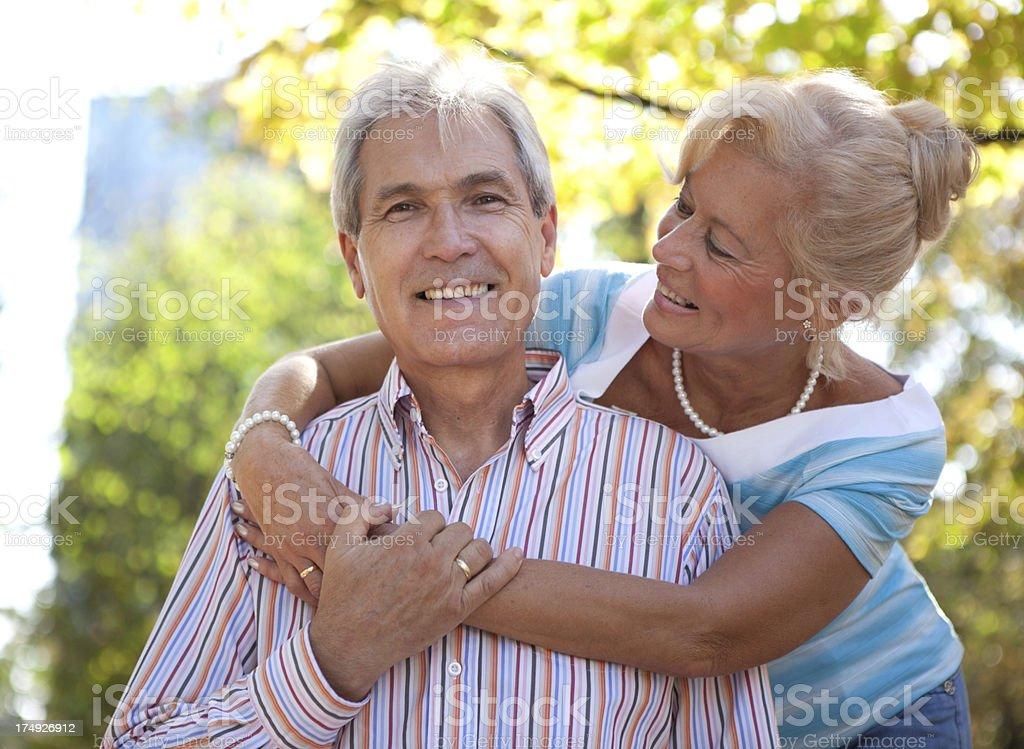 Happy senior couple outdoor. royalty-free stock photo