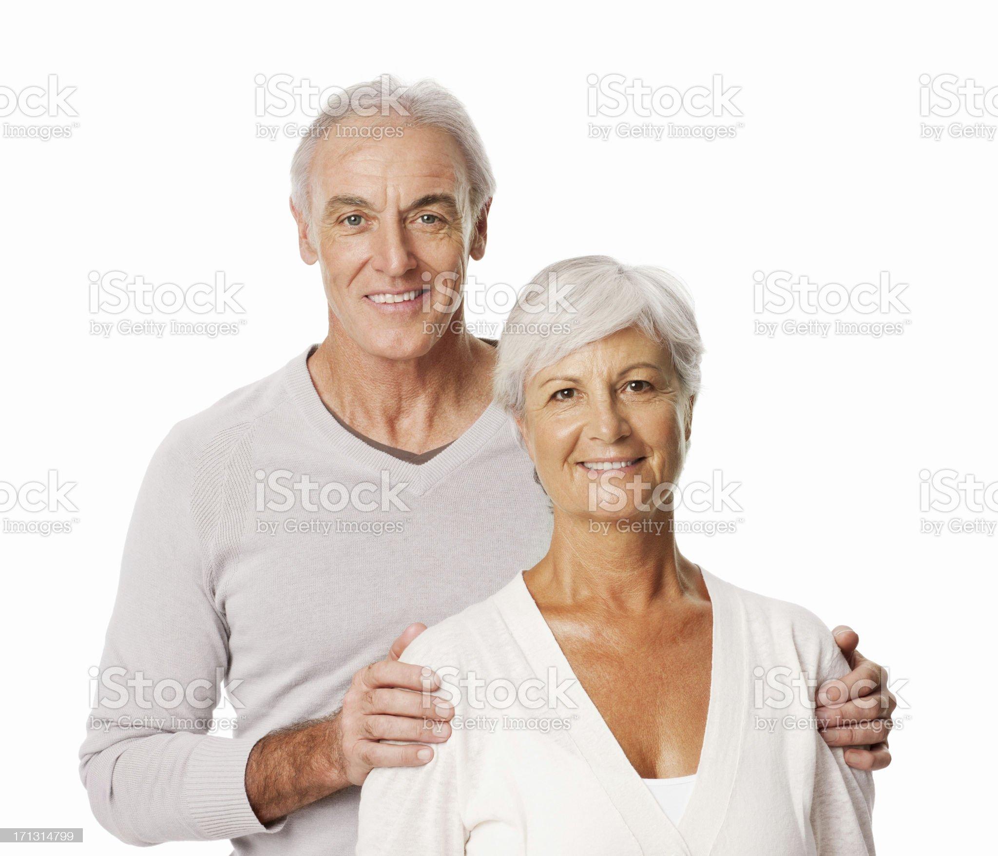 Happy Senior Couple Posing - Isolated royalty-free stock photo