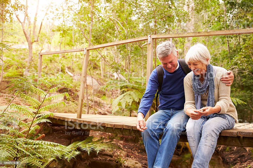 Happy senior couple sitting on bridge in forest, horizontal stock photo