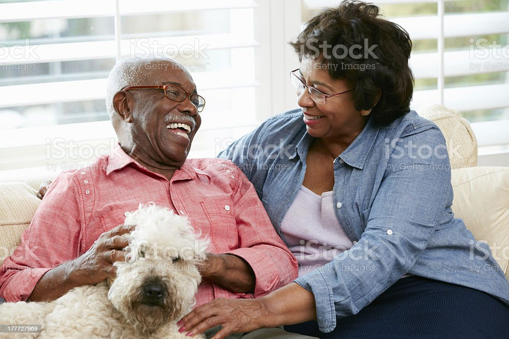 Happy senior couple sitting on the couch with their dog stock photo