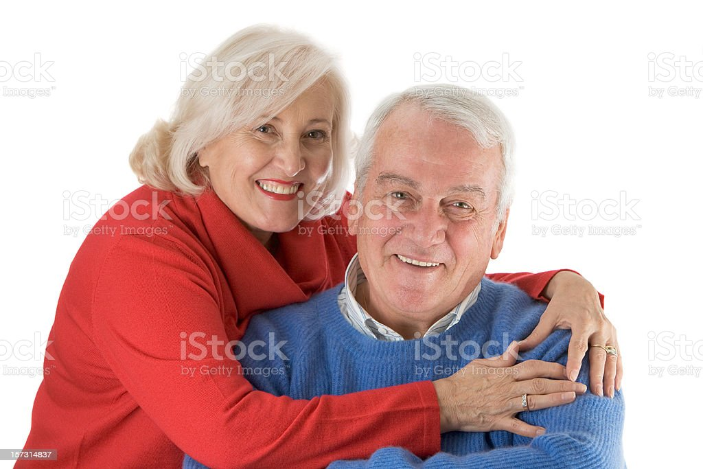 Happy senior couple smiling and hugging. royalty-free stock photo