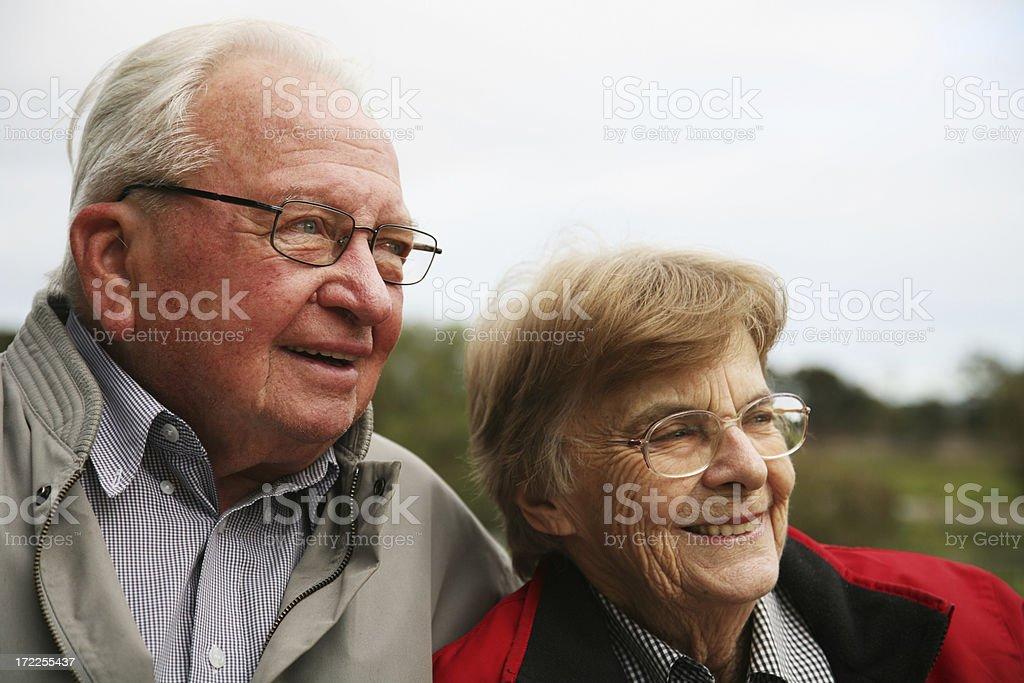 Happy Senior couple wearing eyeglasses royalty-free stock photo
