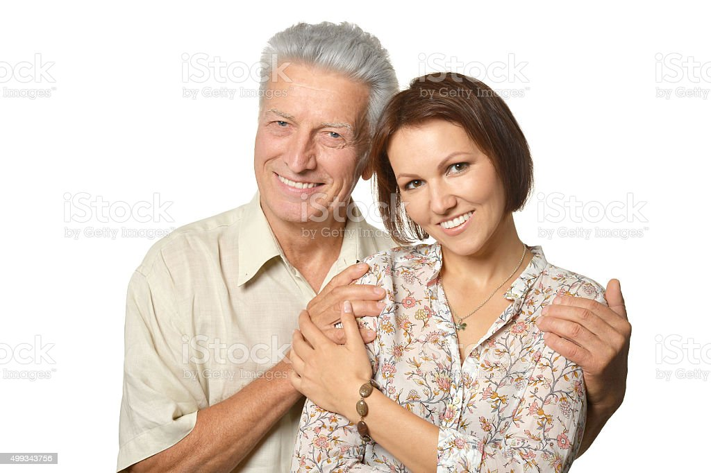 Happy senior father  with daughter stock photo