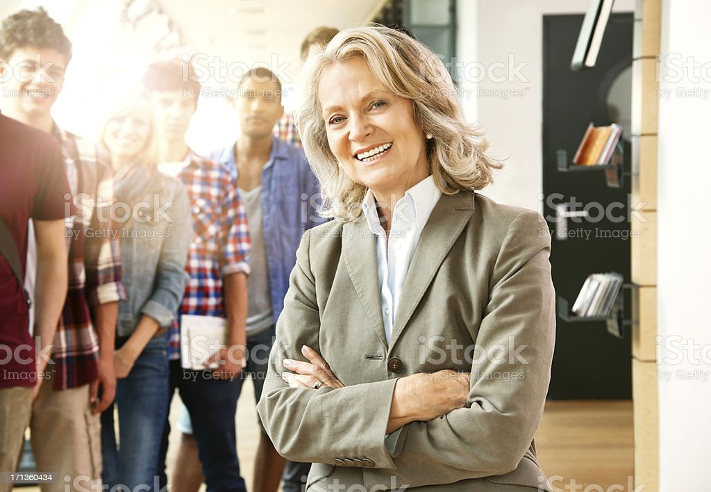 Happy Senior Female Professor stock photo