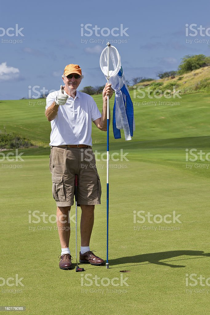Happy Senior Golfer stock photo