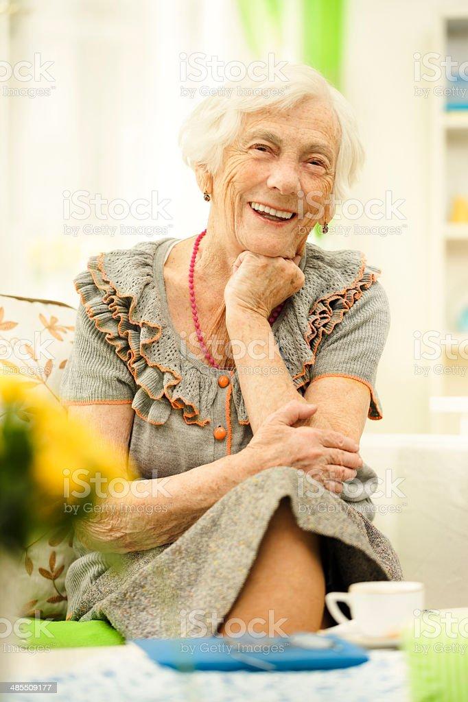 Happy senior lady stock photo