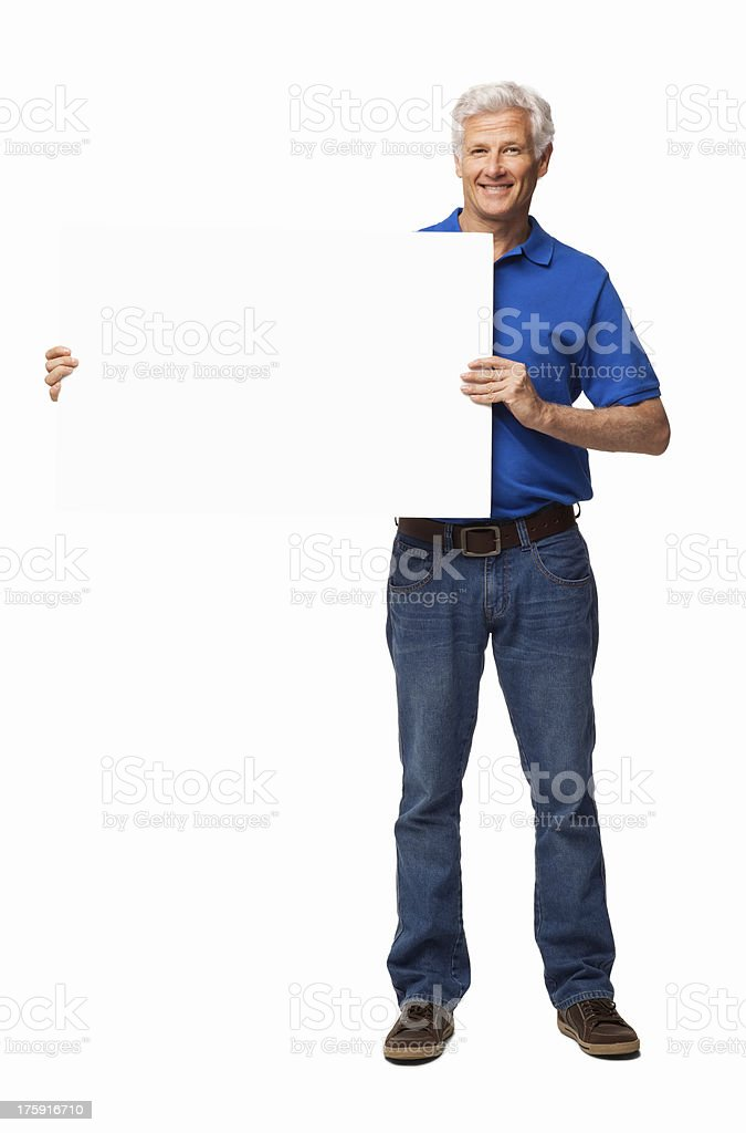 Happy Senior Man Holding Blank Sign - Isolated royalty-free stock photo