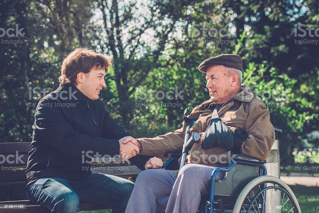 Happy Senior Man in Wheelchair and Grandson in Park, Europe stock photo