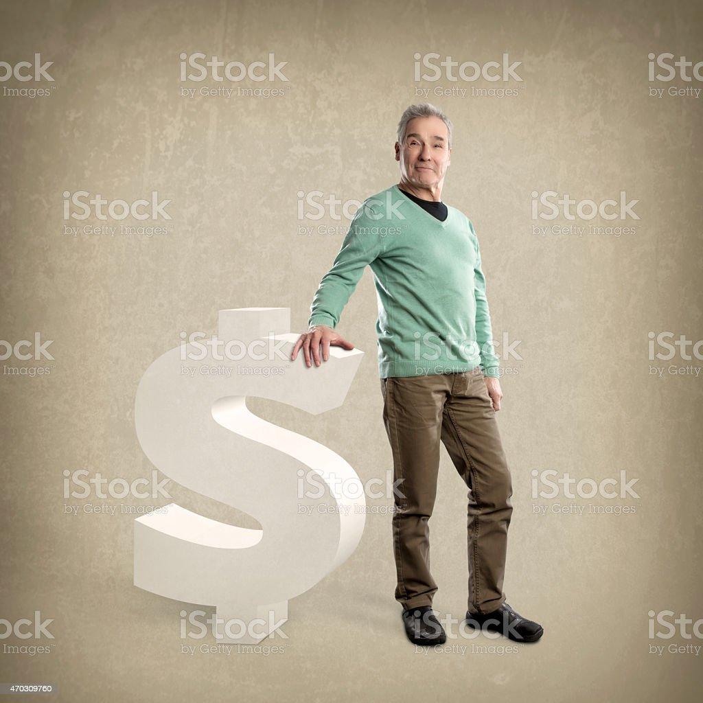 Happy Senior Man, leaning on a Dollar sign - Grunge stock photo