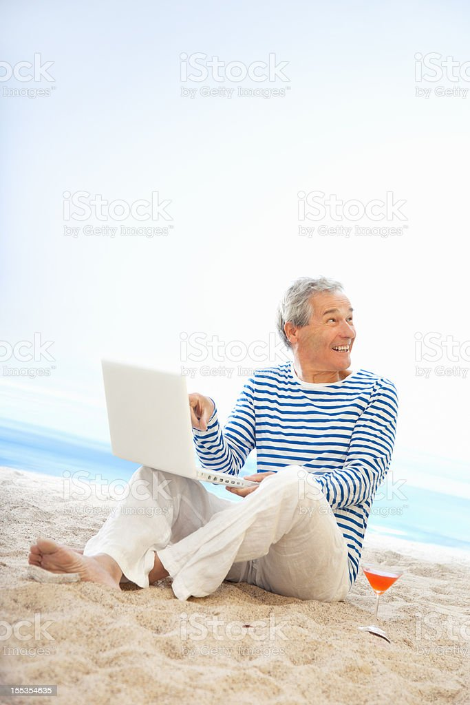 Happy Senior Man on the Beach royalty-free stock photo
