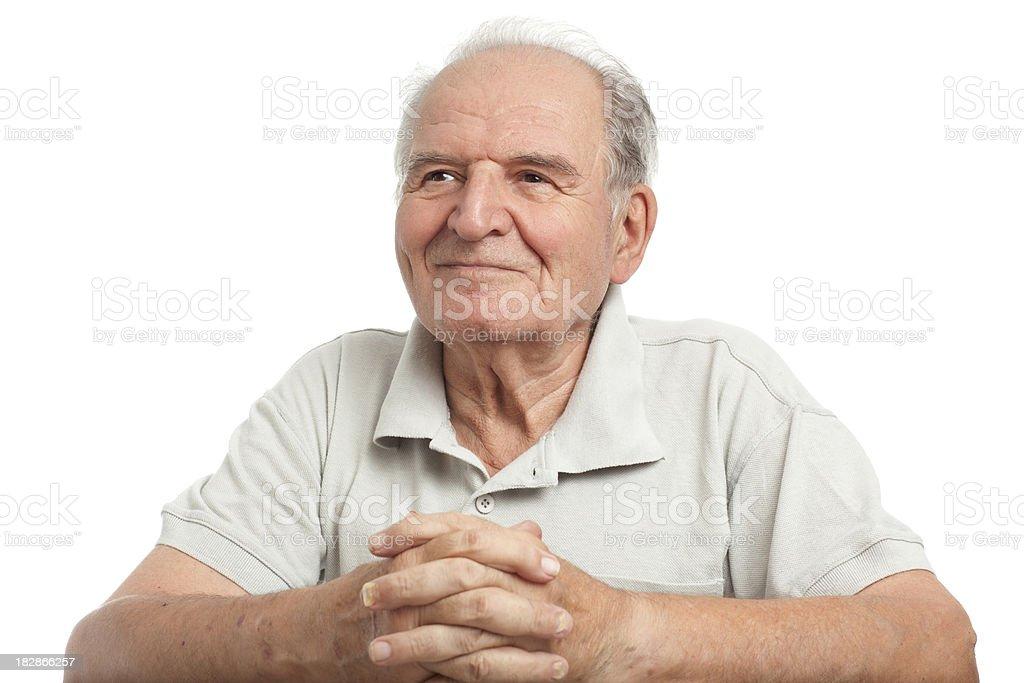 Happy senior man on white. stock photo