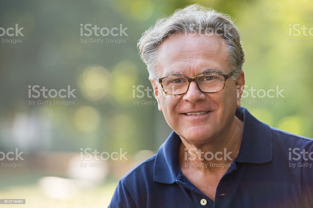Happy senior man stock photo