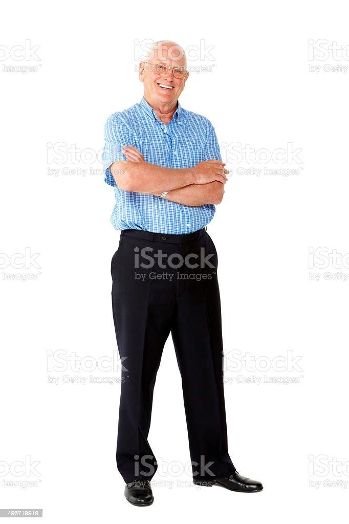 Happy senior man standing on white stock photo