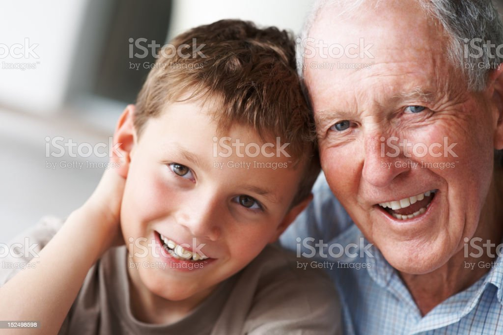 Happy senior man with grandson royalty-free stock photo