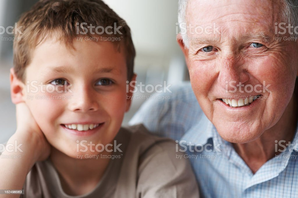 Happy senior man with his grandson royalty-free stock photo