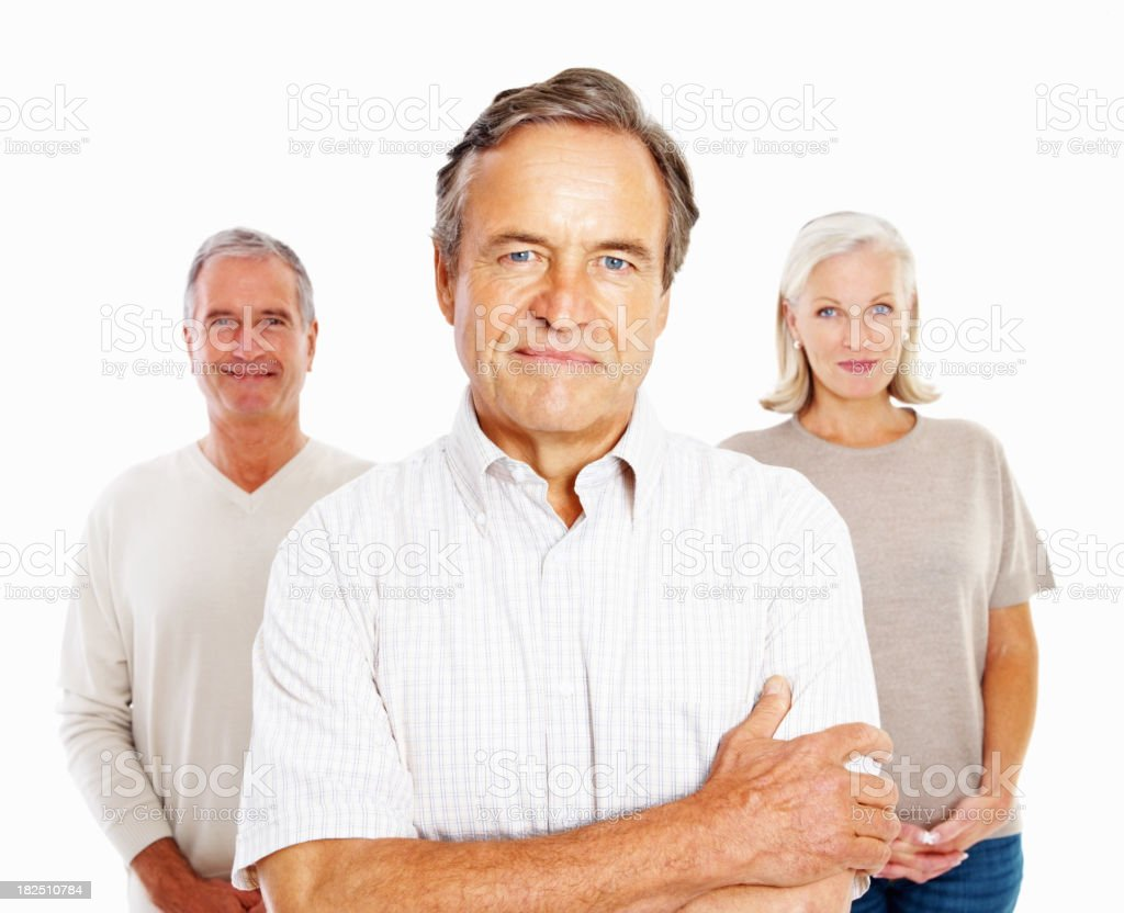 Happy senior men and woman standing together against white royalty-free stock photo