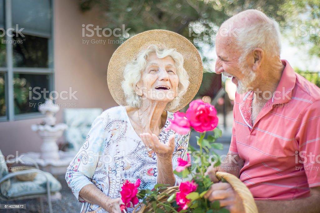 Happy senior people in the garden stock photo