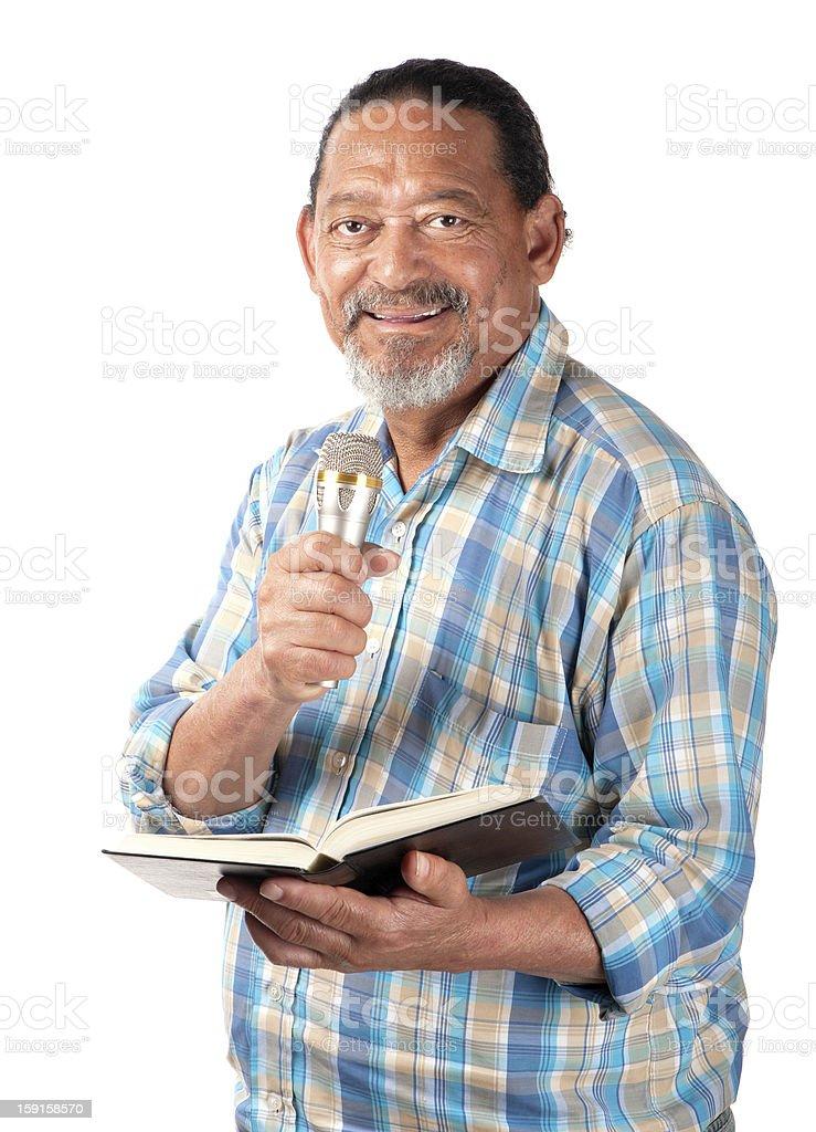Happy senior preacher stock photo