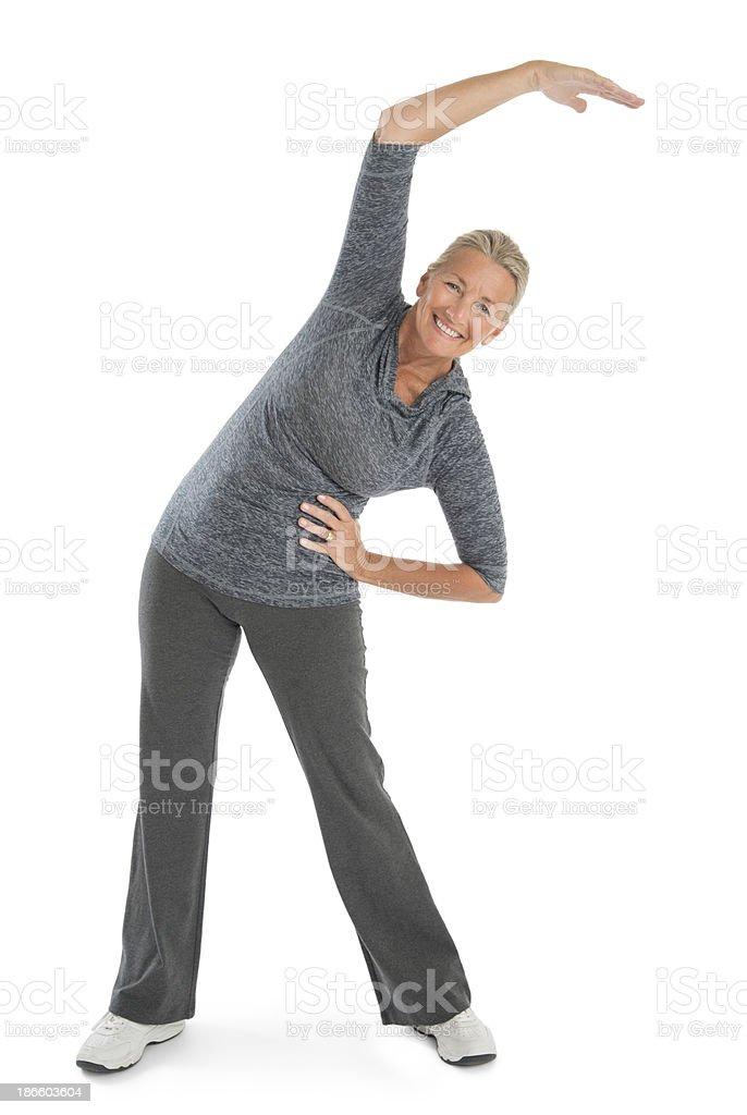 Happy Senior Woman Exercising royalty-free stock photo