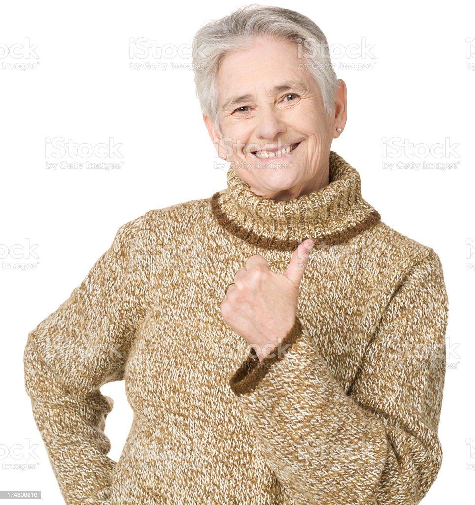 Happy Senior Woman Gives Thumbs Up royalty-free stock photo