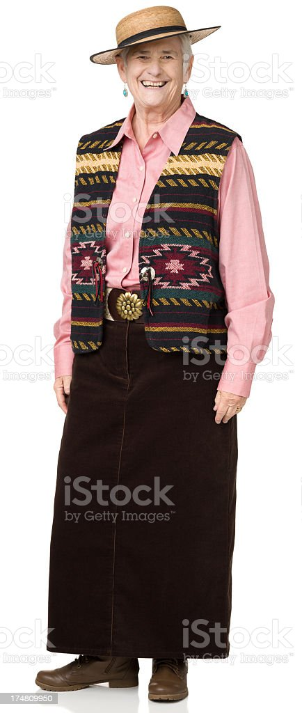 Happy Senior Woman In Western Outfit royalty-free stock photo