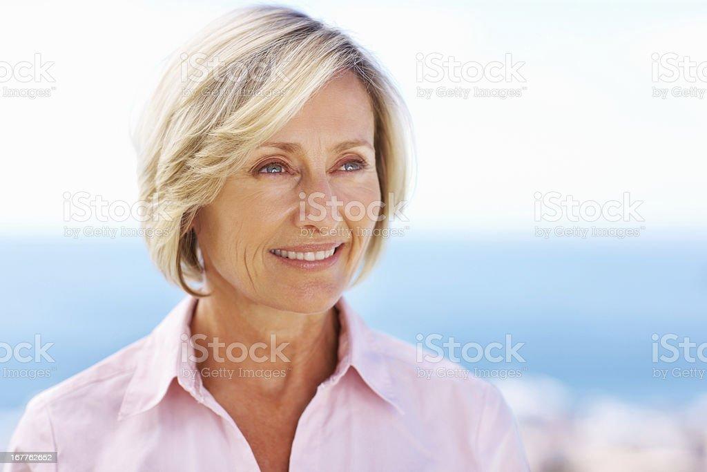 Happy senior woman outdoors royalty-free stock photo