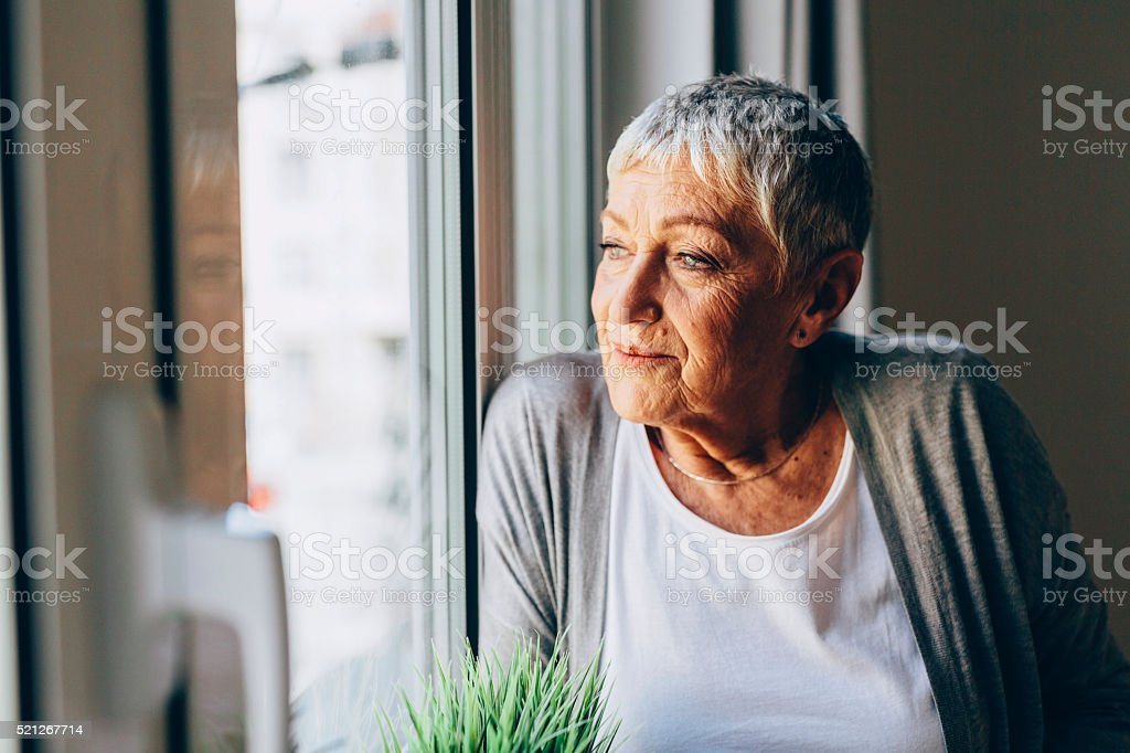 happy senior woman stock photo