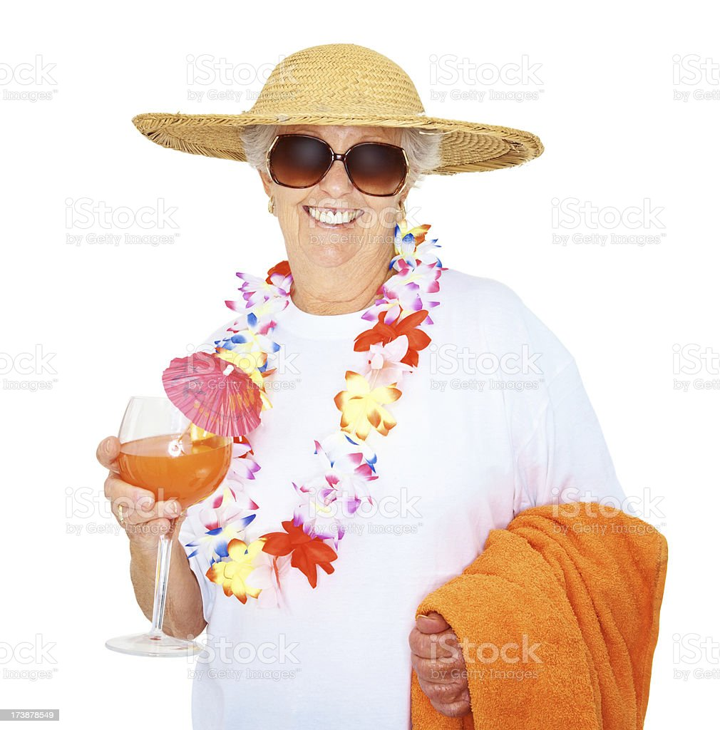 Happy senior woman with a glass of juice royalty-free stock photo