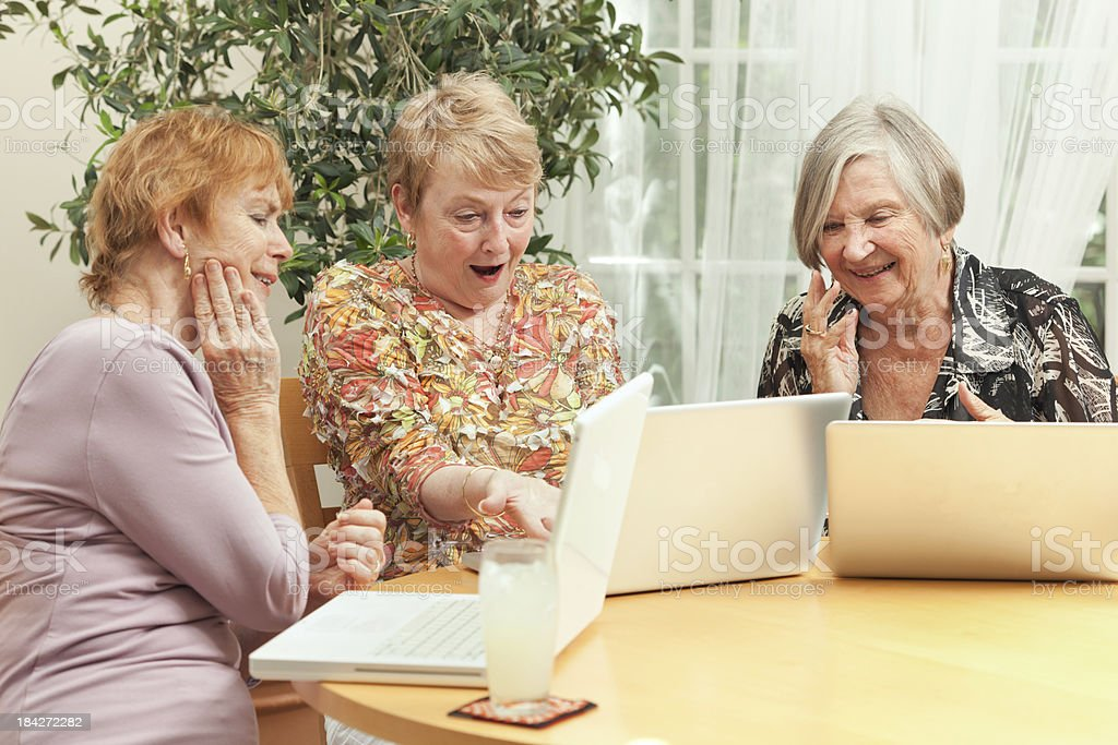 Happy Senior Women Connecting Family and Friends with Social Networking royalty-free stock photo