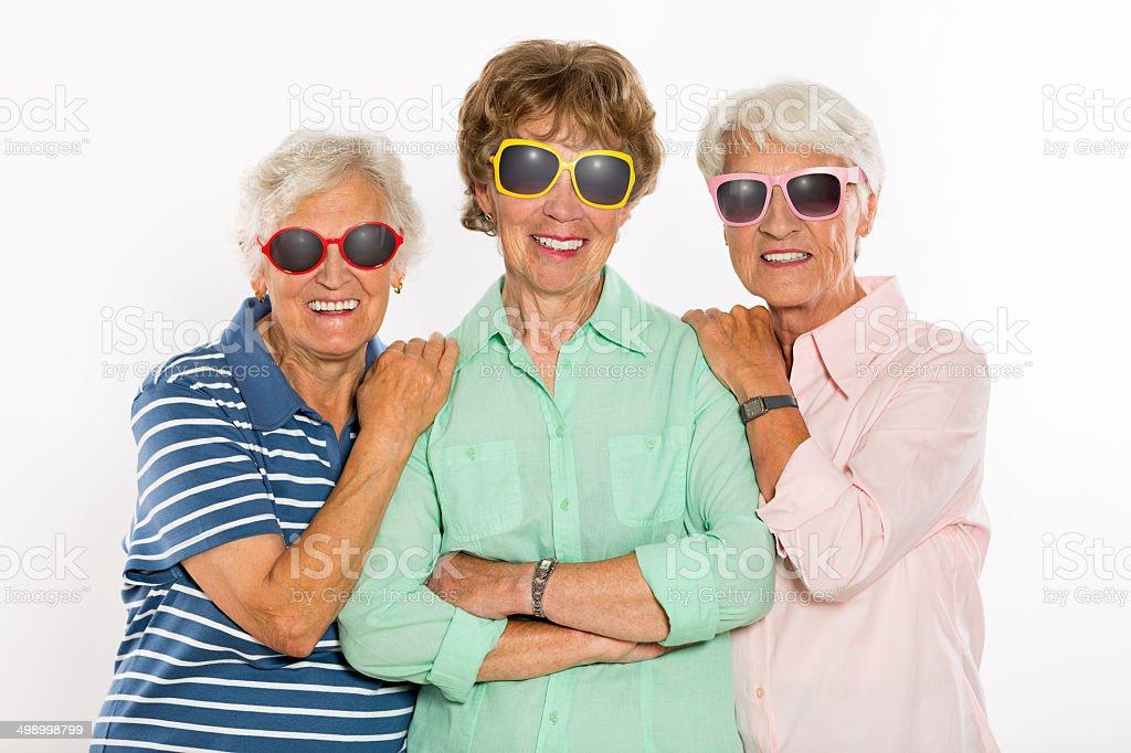 Happy Senior Women with Sunglasses stock photo