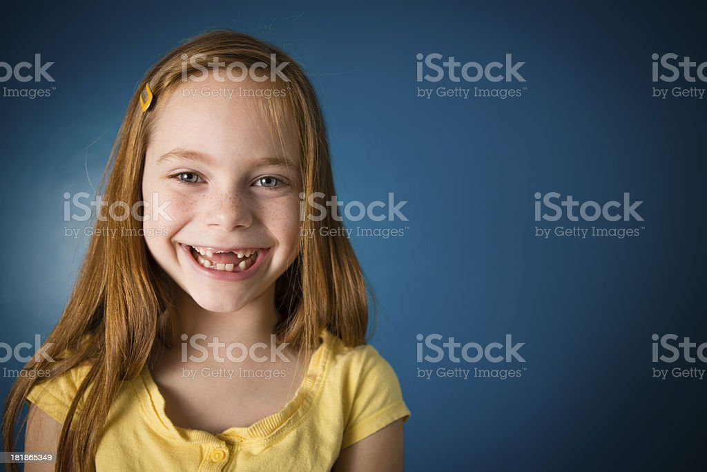Happy Seven Year Old Girl, With Copy Space stock photo